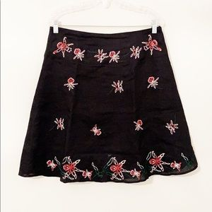 Anne Carson linen embroidered black floral skirt